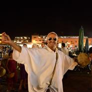 Djemaa-El-Fnaa-Square,-Marakesh-Morocco--Berber-Dancer